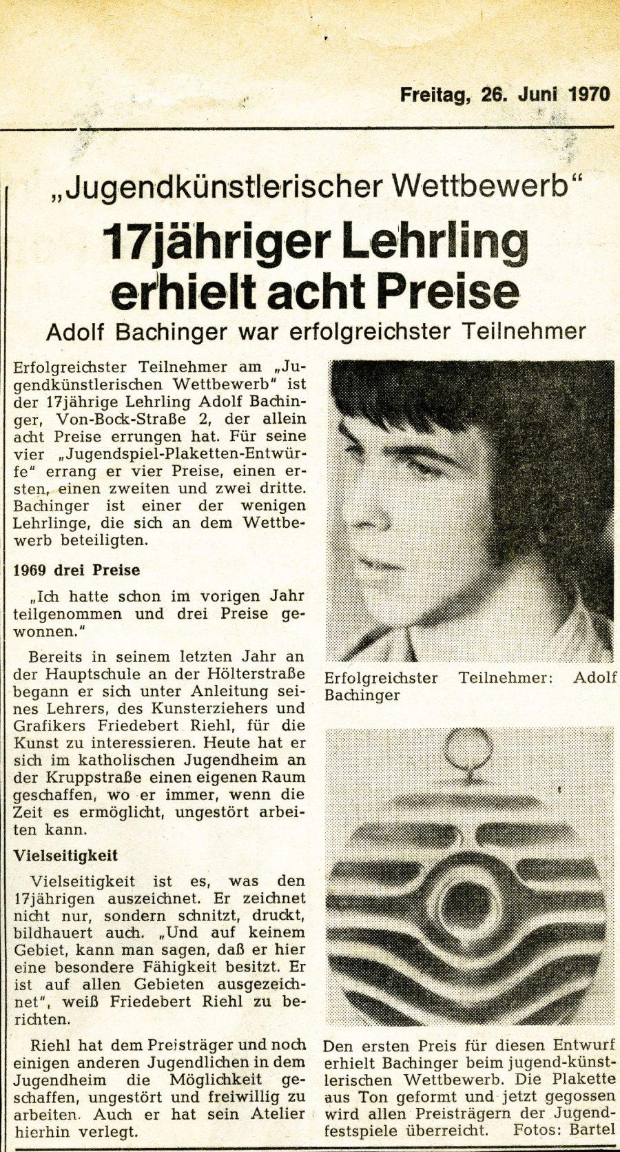 Adolf Bachinger Presse - 1970