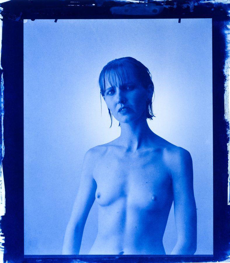 Nicole - Portrait / Akt Cyanotypie Edeldruck 24X30 cm ca. 1980
