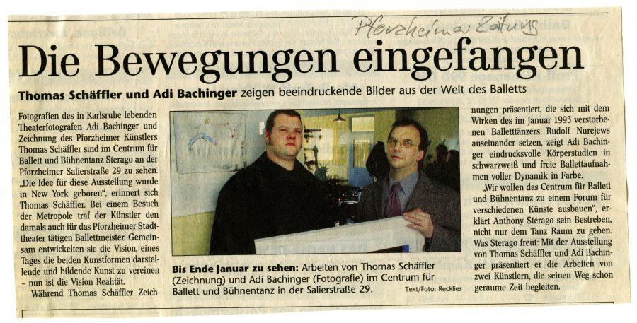 Adi Bachinger und Thomas Schäffler Ausstellung in Pforzheim im Sterago Tanzzentrum.